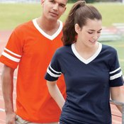 V-Neck Jersey with Striped Sleeves