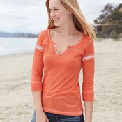 Ladies' Hailey Henley 3/4 Sleeve T-Shirt