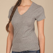 Women's 1x1 Baby Rib V-Neck T-Shirt